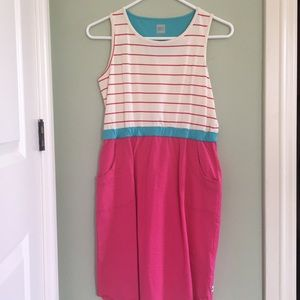 MEC pink, blue and white dress with pockets